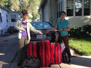 Susan and Gene head off to the airport with 3 suit cases